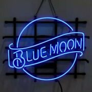 Neon Signs Gift Blue Moon Lager Beer Bar Pub Party Homeroom Store Decor 19x15