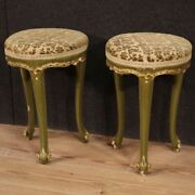 Pair Of Stools Lacquered Wood Antique Style Venetian Furniture 20th Century 900