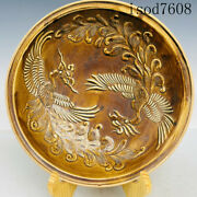 Antique Chinese Song Dynasty Porcelain Ding Porcelain Phoenix Pattern Plate Disc