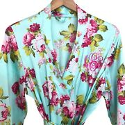 Vintage Floral Rose Print Satin Kimono Robe Size Xl Womens Blue Belted Usa Made