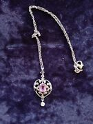 Edwardian Period Solid Silver Paste Pendant And Chain Antique Lovely French Marks