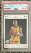 2007 Topps Kevin Durant 2 Rookie Card Psa 9 Mint