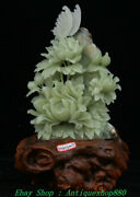 15 China Natural Xiu Green Jade Carving Peony Flowers Tree Butterfly Statue