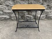 Longaberger Wrought Iron Hope Chest Side Table/stand W/ Woodcrafts Shelf