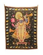 Vintage Embroidery Vintage Embroidered Wall Hanging Thread Work Lord Shreenath