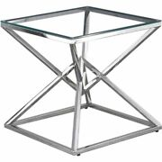 Best Master Furniture 22 Modern Clear Tempered Glass Side Table In Silver
