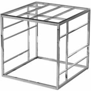 Best Master Furniture 22 Square Modern Clear Tempered Glass End Table In Silver