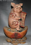 15 Old China Wucai Porcelain Wealth Yuan Bao Money Coins Pig Pigs Animal Statue