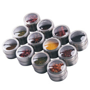 Magnetic Spice Tins Set - Shake Or Pour Containers Attach To Most Refrigerator D