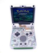 Gameboy Advance Sp Gba Sp Ips V2  In Transparent Shell With Charger Bundle