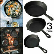 Set Of 3 Cast Iron Skillet Frying Pan Cooking Fryer Pot Grill Fry Non Stick Bbq