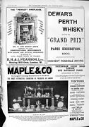 Antique Print 1900 Dewar's Whisky Pearson Fireplace Maple Furniture Silver