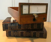 Vintage Card Catalog Library Cabinet Wood Drawer With Brass Pull And Label Frame