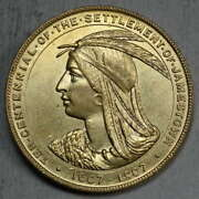 Hk-347, 1907 Jamestown Exhibition Official Medal, Pin Mount, Choice Uncirculated