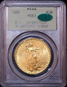 1928 Gold 20 Double Eagle Pcgs Ms63 Cac No Spots Great Luster Pq Gc801