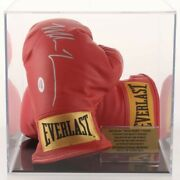 Iron Mike Tyson Signed Everlast Red Gloves Autographed Psa Coa In Display Case🥊