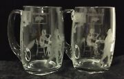 Two - Heisey Whaley 16 Oz Beer Mugs Etched With Club Drinking Scene