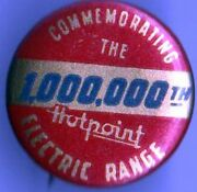 Vintage Pin Hotpoint Pinback Electric Range Appliance Kitchen Cooking Chef