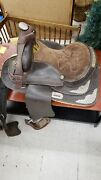 Vintage Western Horse Pleasure / Trail Saddle W Silver Stars And Trim Sterling