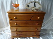 Vintage Traditional 20th Century Pine 4 Drawer Chest Of Drawers On Bun Beet