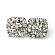 1.5 Ctw Natural Diamond Solid 14k White Gold Square Halo Stud Earrings 10 Mm