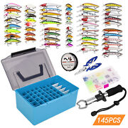 145pcs Fishing Accessories Kit Assorted Fishing Minnow Lures Baits Soft G8o4