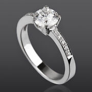 4 Prong 1.04 Carat Solitaire Accented Diamond Ring 14k White Gold New Lady