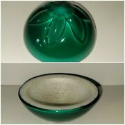 Vintage Murano Bowl Cased Green Pearl Unique Ooak High Quality