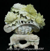 14 Natural Xiu Green Jade Carving Peony Flower Basket Potted Plants Statue