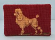 Antique Needlepoint Burgundy With White Poodle Door Stop W/wooden Wedge 1920's