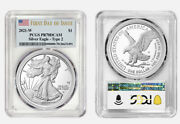 Presale 2021 W 1 American Silver Eagle Type 2 Pcgs Pr70 Dcam First Day Issue