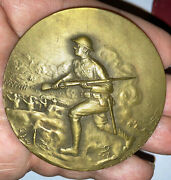 Antique 1919 Wwi Us Victory French Bronze Medal Marcel Lordonnois Box Doughboy