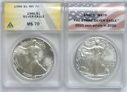 1986 And 2021 American Silver Eagle Anacs Ms70. 1st And Last Year Of Type 1 Design.