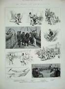 Old Antique Print 1885 Ship Pembroke Castle Methuenand039s Horse Troops Army 19th