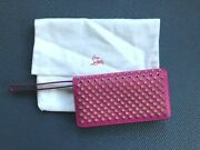 Christian Louboutin Macaron Spiked Flap Wallet/clutch Fuchsia. With Dust Bag