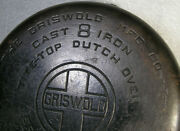 1920 Griswold Cast Iron 8 Large Logo Tite Top Dutch Oven 833 D Erie Pa Nice