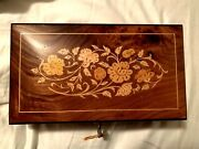 Italian Hand Crafted Wood Inlay Jewelry Music Box - Plays Unchained Melody