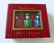 Vintage Waterford Holiday Heirlooms Set Of 3 Toy Soldiers Glass Ornaments W/box