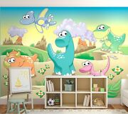 Baby Room Wall Mural Wallpaper In Giant Size Dinosaurs Land Childrens Bedroom