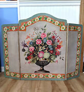 Vintage Three Panel Folding Floral Fireplace Screen