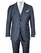 Caruso Suit With Vest In Dark Blue From Loro Piana Four Seasons Super 130's