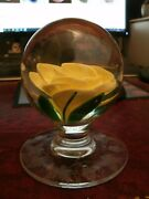 Pairpoint Yellow Crimp Rose Pedestal Paperweight 1973
