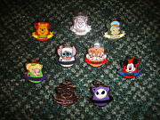 Disney Pins Hidden Mickey Crest Stitch Chip And Dale Tinker Bell Completer Set/lot