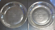 """Vintage Fire King 480 Anchor Hocking 9"""" Clear Glass Pie Plates Set Of Two"""