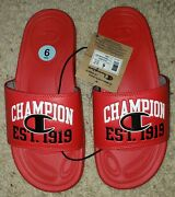 New Champion Menand039s Red Mega Slide Est 1919 Youth 6/ Womenand039s 9 Flip Flops Nwt