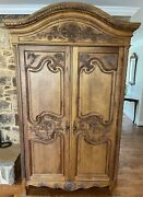 French Provincial Style Carved Wardrobe Tv Cabinet Media Center