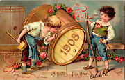 1908 Gold Tone Guild Embossed New Year Postcard Boys Playing Spring City Pa