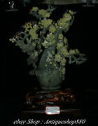 21 Natural Green Xiu Jade Carving Cherry Blossoms Bird Tree Vase Potted Plants