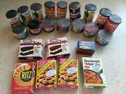 Vintage Doll Plastic Cans And Boxes Of Play Food, Green Giant, Hunts, Nabisco