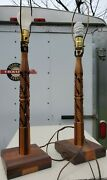 Rare Pair Mid Century Carved Table Lamps Wooden 2 Tone Tramp Art Look Handmade